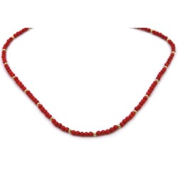 Red Coral Paste Necklace with Gold Plated Sterling Silver Spheres