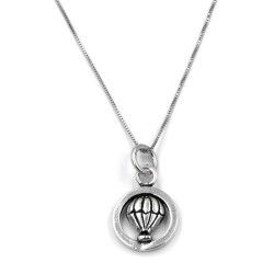 Sterling Silver Necklace with Hot Air Balloon Medal
