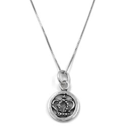 Sterling Silver Necklace with Royal Crown Medal