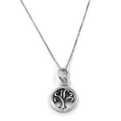 Sterling Silver Necklace with Three of Life Medal
