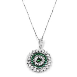 Sterling Silver Necklace with Round Pendant with Green and White Zircons