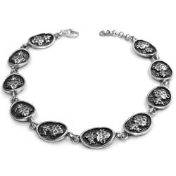 Bracciale Medaglie Ovali Sacro Cuore in Argento Brunito