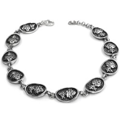 Holy Heart Burnished Sterling Silver Oval Medals Bracelet