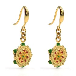 Tambourine Earrings Gold Plated and Enamelled 925 Sterling Silver