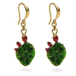 Prikly Pear Earrings Gold Plated and Enamelled 925 Sterling Silver