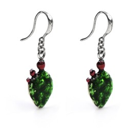 Prikly Pear Enamelled 925 Sterling Silver Earrings