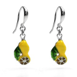 Lemon Earrings Enamelled 925 Sterling Silver