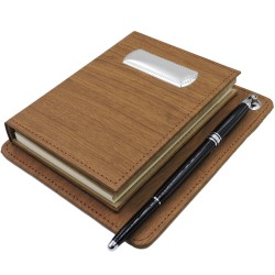 Address Book and Notepad Set in Brown Eco-Leather with Silver Plate
