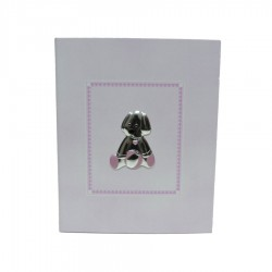 Photo Album Baby Pink Puppy with Silver Application
