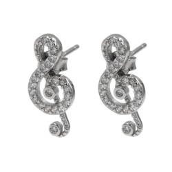 Sterling Silver Treble Clef Earrings with White Zircons