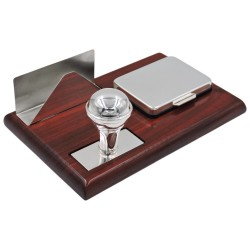 Stamp Set with Card Holder, Sterling Silver and Cherry Wood