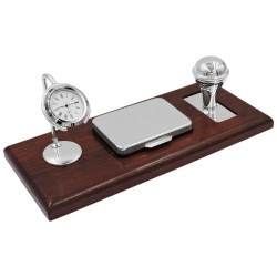 Stamp Set with Table Clock, Sterling Silver and Cherry Wood