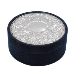 925 Sterling Silver and Blue Velvet Round Box
