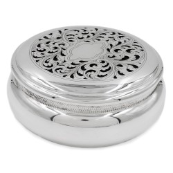Solid Silver Box with Inlaid and Perforated Lid